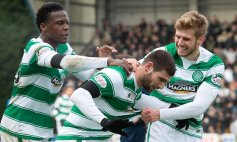 13/12/15 LADBROKES PREMIERSHIP ST JOHNSTONE v CELTIC MCDIARMID PARK - PERTH Celtic's Nadir Ciftci (centre) celebrates his first goal with team-mates Dedryck Boyata (left) and Stuart Armstrong