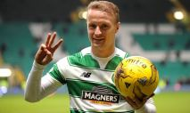 Celtic's Leigh Griffiths at the end of the match with the ball after scoring a hat-trick during the Ladbrokes Scottish Premiership at Celtic Park, Glasgow. PRESS ASSOCIATION Photo. Picture date: Tuesday January 19, 2016. See PA story SOCCER Celtic. Photo credit should read: Jane Barlow/PA Wire. RESTRICTIONS: EDITORIAL USE ONLY