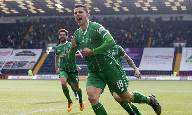 Celtic's Tom Rogic celebrates scoring his side's first goal of the game during the Ladbrokes Scottish Premiership match at Rugby Park, Kilmarnock. PRESS ASSOCIATION Photo. Picture date: Saturday March 19, 2016. See PA story SOCCER Kilmarnock. Photo credit should read: Jeff Holmes/PA Wire. EDITORIAL USE ONLY
