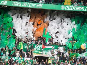 GLASGOW, SCOTLAND - MAY 24: Fans at Celtic celebrates 4 titles in a row at the Scottish Premiership match between Celtic and Inverness Caley Thistle at Celtic Park on May 24, 2015 in Glasgow, Scotland. (Photo by Jeff Holmes/Getty Images)