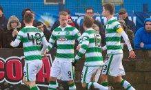 10/01/16 WILLIAM HILL SCOTTISH CUP 4TH RND STRANRAER v CELTIC STAIR PARK - STRANRAER Celtic's Leigh Griffiths celebrates having put his side ahead