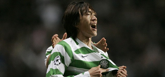 Celtic's Nakamura celebrates scoring against Manchester United during their Champions League soccer match in Glasgow,Scotland