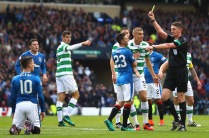 GLASGOW, SCOTLAND - OCTOBER 23: Barrie McKay of Rangers is shown a yellow card for simulation during the Betfred Cup Semi Final match between Rangers and Celtic at Hampden Park on October 23, 2016 in Glasgow, Scotland. (Photo by Michael Steele/Getty Images)