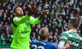 GLASGOW, SCOTLAND - MARCH 12: Craig Gordon of Celtic collects the ball during the Ladbrokes Scottish Premiership match between Celtic and Rangers at Celtic Park on March 12, 2017 in Glasgow, Scotland. (Photo by Mark Runnacles/Getty Images)