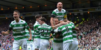 GLASGOW, SCOTLAND - APRIL 23: Scott Sinclair (2nd R) of Celtic celebrates scoring his side's second goal with his team mates during the Scottish Cup Semi-Final match between Celtic and Rangers at Hampden Park on April 23, 2017 in Glasgow, Scotland. (Photo by Mark Runnacles/Getty Images)