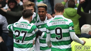 GLASGOW, SCOTLAND - APRIL 23: Scott Sinclair of Celtic celebrates after he scores a penalty during the William Hill Scottish Cup semi-final match between Celtic and Rangers at Hampden Park on April 23, 2017 in Glasgow, Scotland. (Photo by Ian MacNicol/Getty Images)