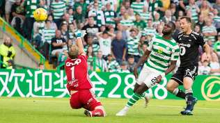Celtic's Odsonne Edouard scores his side's third goal of the game during the Champions League second qualifying round, first leg soccer match between Celtic and Rosenborg, at Celtic Park, Glasgow, Scotland, Wednesday, July 25, 2016. (Jeff Holmes/PA via AP)